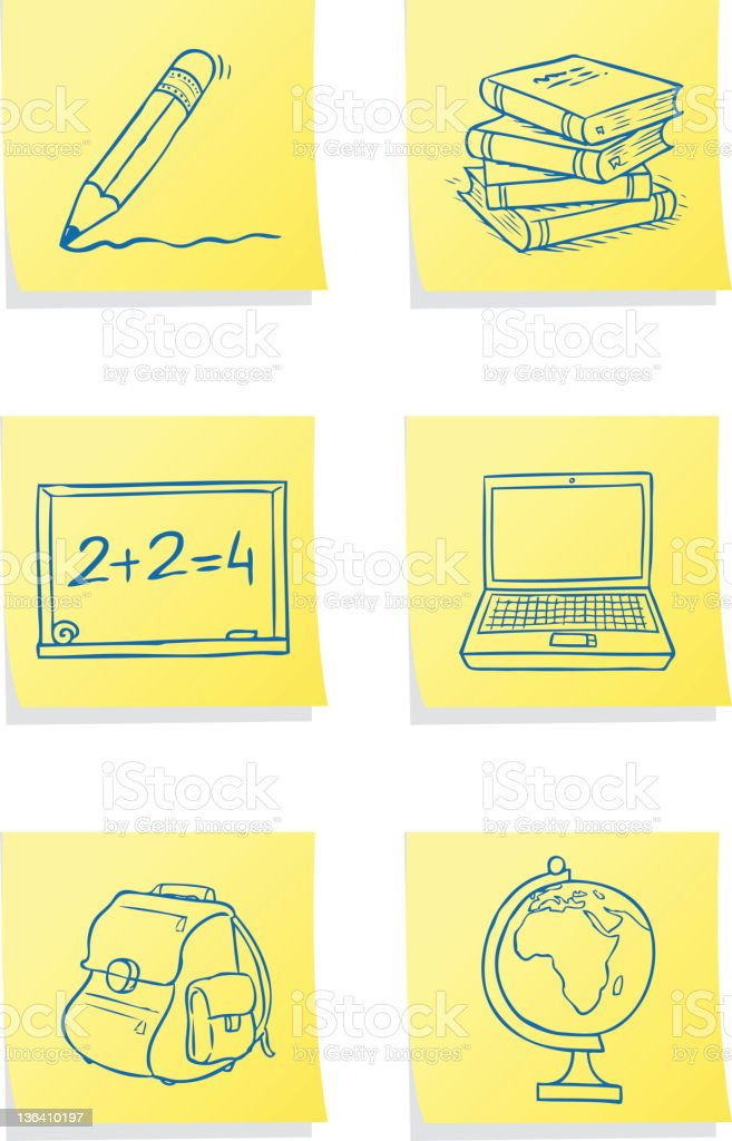 School Post-its royalty-free stock vector art