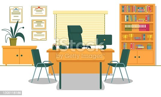Office with Necessary Furnishing and Computer on Desk. School Principals Working Place. Table and Two Chairs for Visitors, Teachers, Parents and Students. Shelving with Folders and Gold Champion Cups.