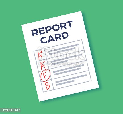 Report card educational and school grading paper report with letter grades.