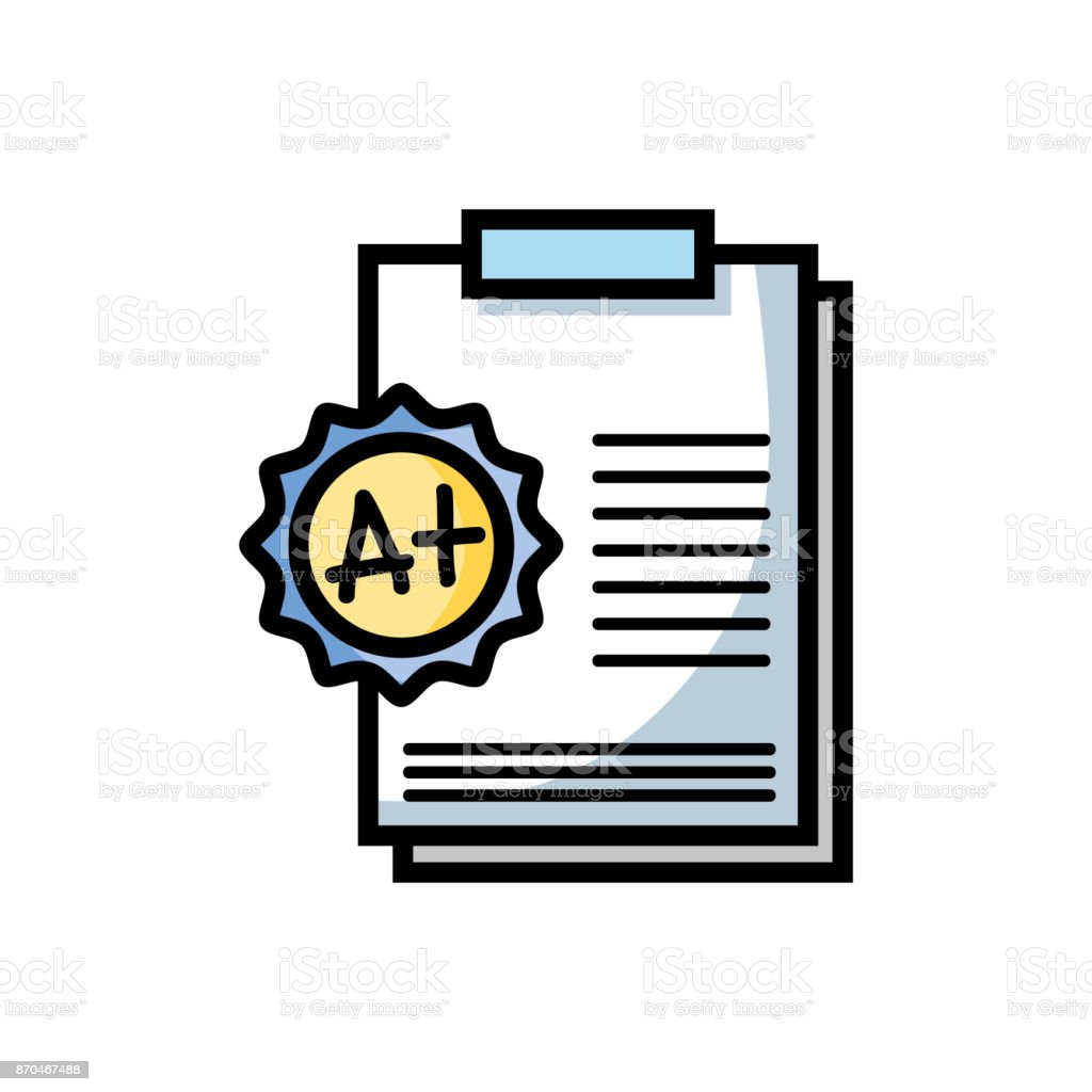 school report education with A plus result vector art illustration