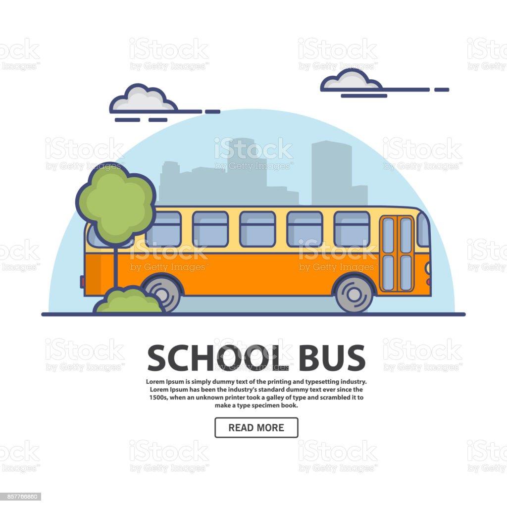 Autobús retro. En el plano lineal estilo un vector. - ilustración de arte vectorial