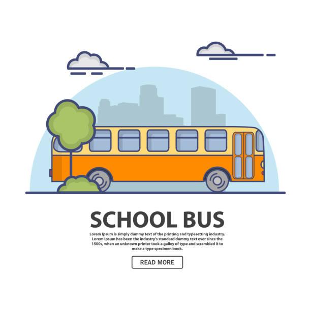 ilustraciones, imágenes clip art, dibujos animados e iconos de stock de autobús retro. en el plano lineal estilo un vector. - autobuses escolares