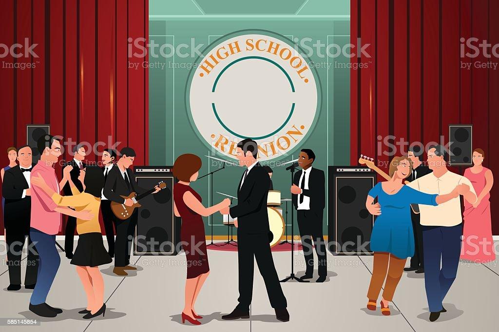 School Reunion Party vector art illustration