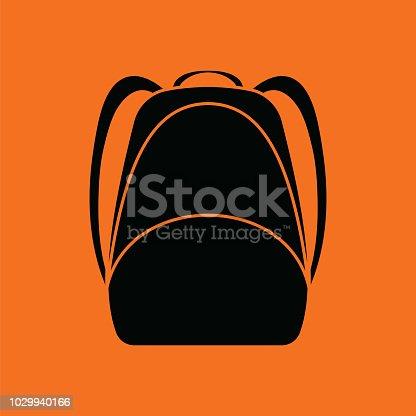School rucksack  icon. Orange background with black. Vector illustration.