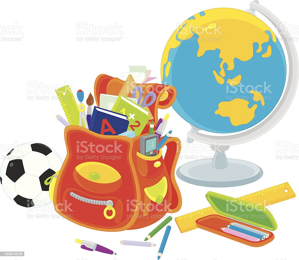 School satchel, globe, football royalty-free stock vector art