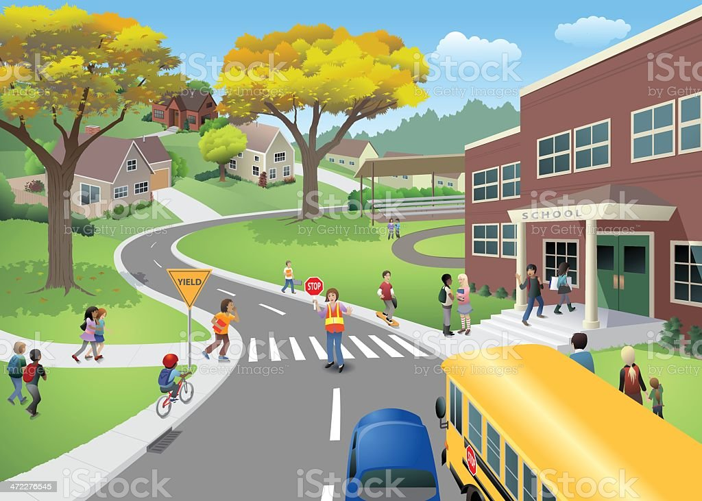 School Scene vector art illustration