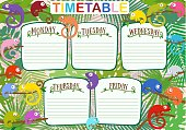 Vector colorful design of school work timetable with color chameleons against background of tropical leaves. Suitable and as planning for weekdays.