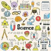 School science doodle set 1. Hand drawn vector illustration.
