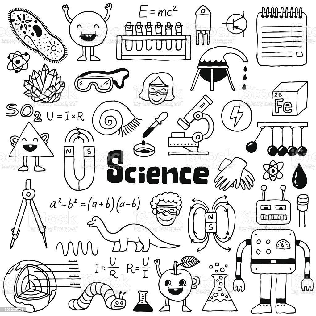 science doodle doodles drawn illustration hand notebook vector drawing sketch cute portadas para cuadernos illustrations microscope kid shutterstock notes dinosaur