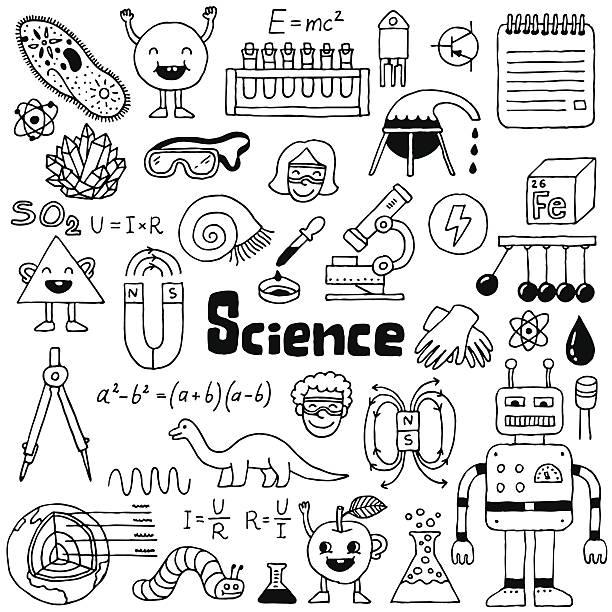 学校の落書きセット 1 ます。 手描きのベクターイラストレーション。 - 数学の授業点のイラスト素材/クリップアート素材/マンガ素材/アイコン素材