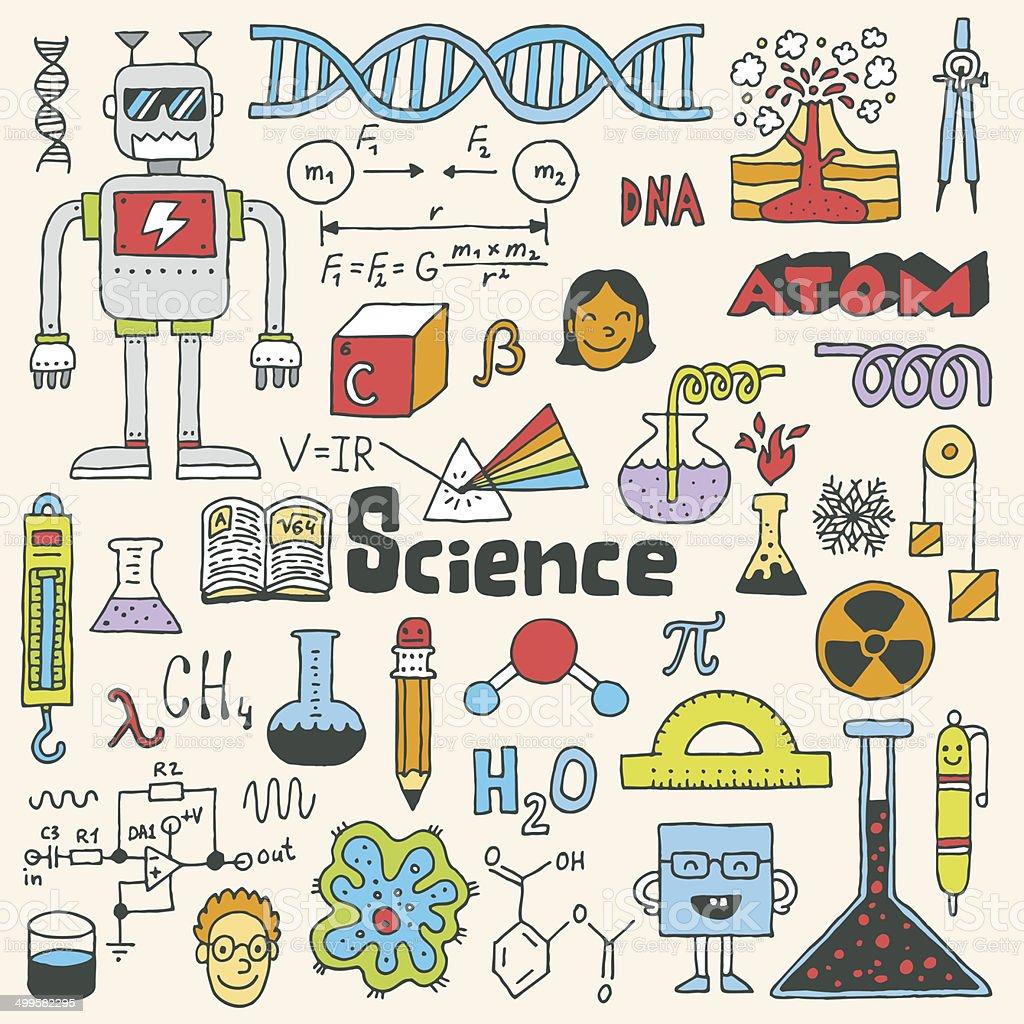 Ciência escola doodle a série 2.  Ilustração vetorial mão desenhada. - ilustração de arte em vetor