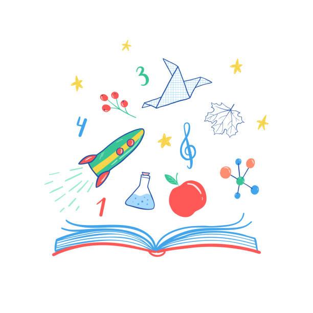 schule-wissenschaft-vektor-illustration. vektor-rakete, buch, chemie reagenzgläser, notizen, zahlen, blätter, sterne, papier vogel. schule-symbole. - reiseliteratur stock-grafiken, -clipart, -cartoons und -symbole