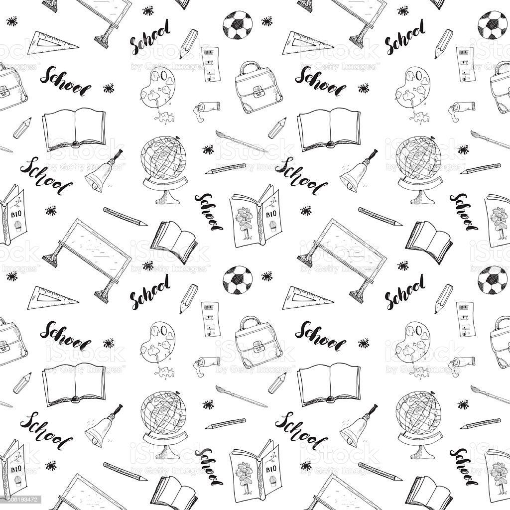 School seamless pattern Hand Drawn Doodles, Vector Illustration vector art illustration
