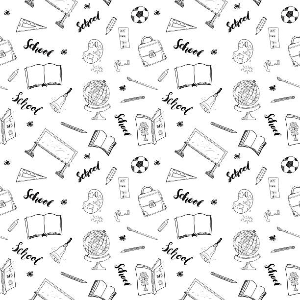 school seamless pattern hand drawn doodles, vector illustration - high school sports stock illustrations