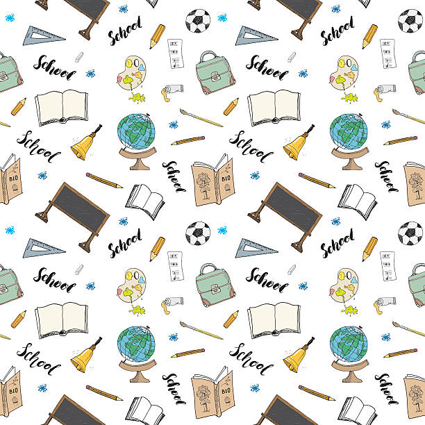 school seamless pattern hand drawn doodles, vector illustration - 高等学校点のイラスト素材/クリップアート素材/マンガ素材/アイコン素材