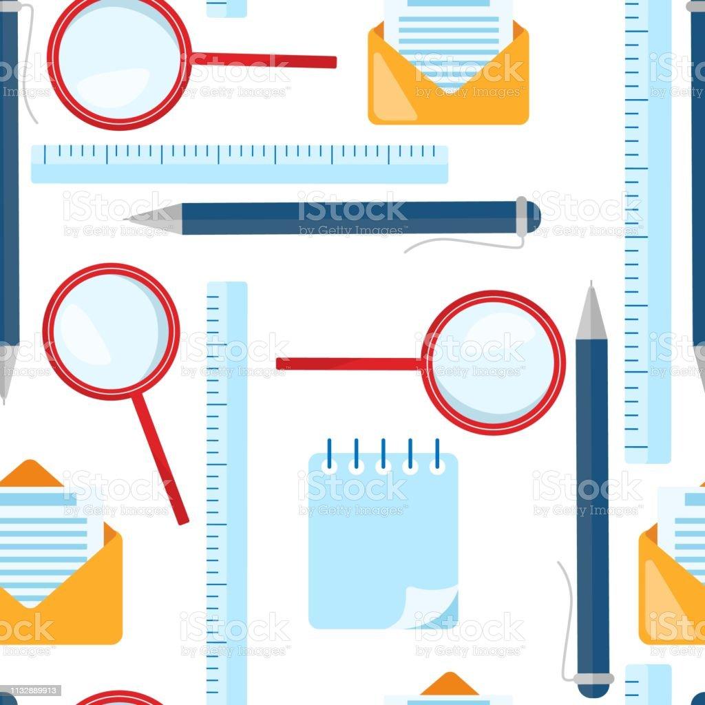 学校のシームレスなパターン虫眼鏡ボールペン定規封筒の文字の要素 いたずら書きのベクターアート素材や画像を多数ご用意 Istock