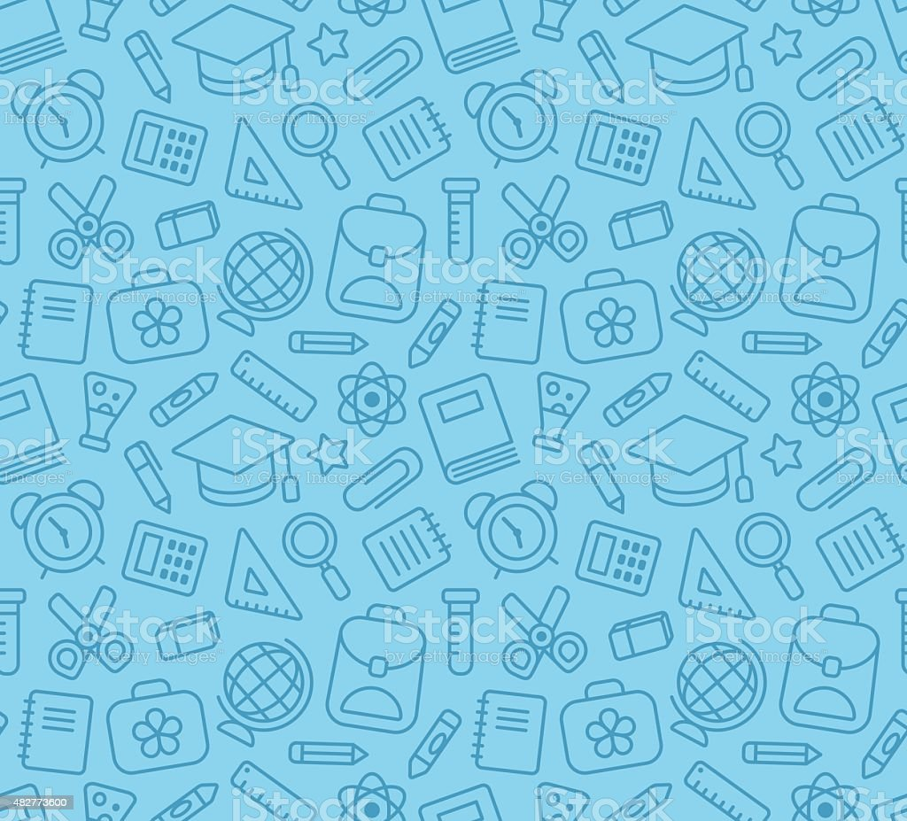School seamless pattern vector art illustration