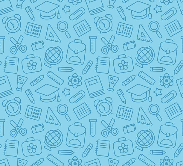 School seamless pattern Seamless pattern of school and education related symbols: stationery, learning and science metaphors and various school supplies. school background stock illustrations