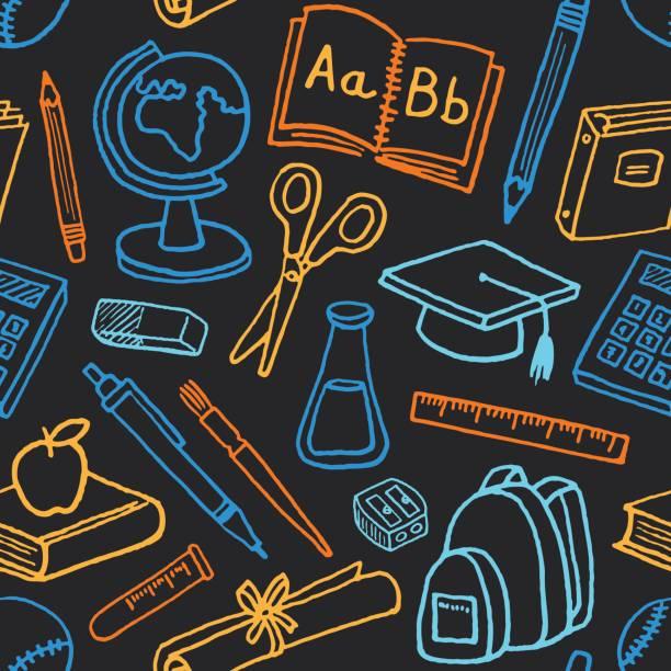 school seamless pattern - primary school stock illustrations, clip art, cartoons, & icons