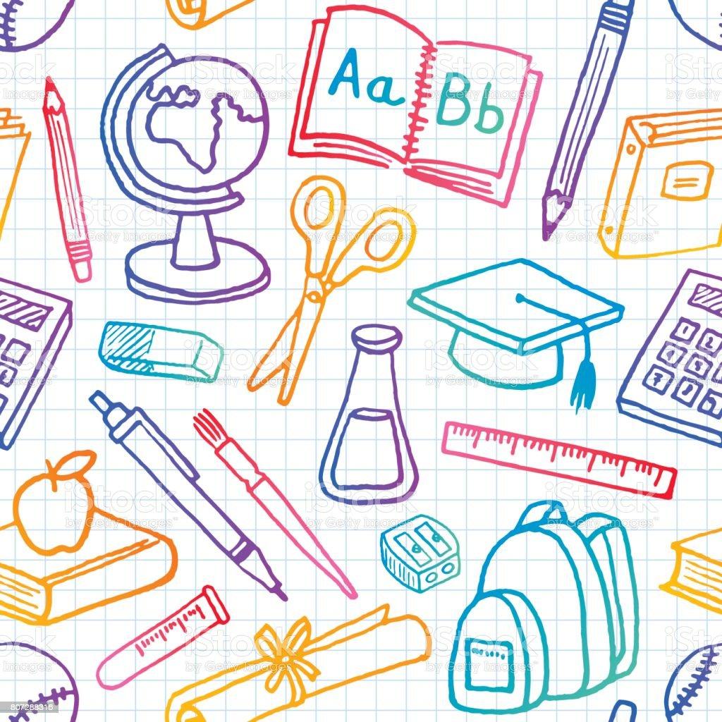 School Seamless Pattern vector art illustration