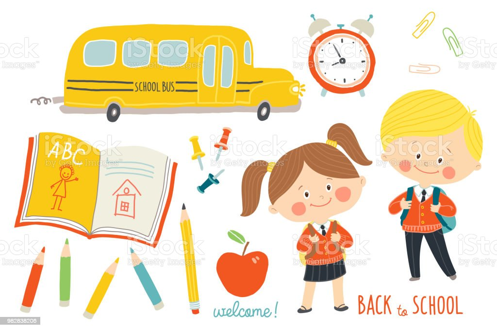 Vetores De Escola Conjunto Personagens E Objetos Criancas Em