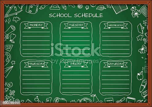 School Shedule For A Week On Blackboard-vektorgrafik och fler bilder på Auktoritet 590299444
