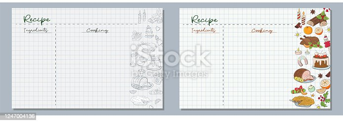 School sheets of paper with hand-drawn ingredients for a festive Christmas dinner, turkey, sweet cake, oranges, sweets and gingerbread cookies in monochrome and color for writing delicious recipes for.