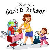 Cheerful smiling mother and daughter making purchases before starting new academic year vector illustration. Happy child holding nice uniform and mummy rolling cart full of school supplies