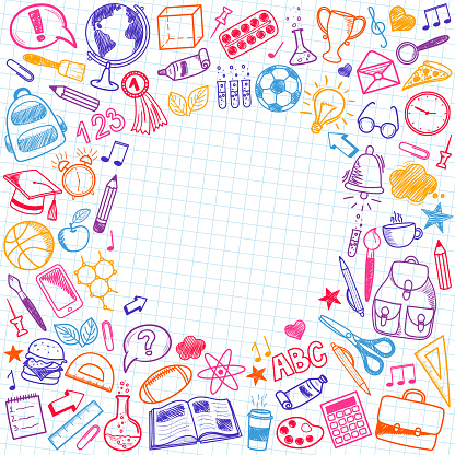School sketch doodle set. Various hand-drawn school items