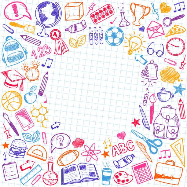 illustrazioni stock, clip art, cartoni animati e icone di tendenza di set di doodle per schizzi scolastici. vari oggetti scolastici disegnati a mano - scuola