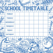 School daily timetable or lesson schedule template. Vector sketch design of school bag and school stationery book or copybook and mathematics calculator, pencil or maple leaf and geometry globe
