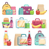 School snacks bags. Healthy food in kids lunch boxes vector set
