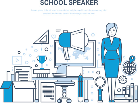 School speaker concept. Training, education. Teaching on lesson in classroom