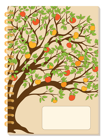 A5 school spiral notebook cover with apple tree and autumn apples