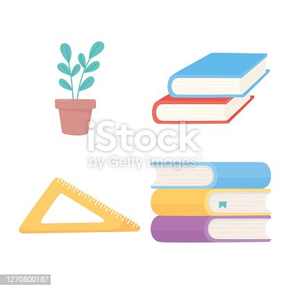 school stack of books traingle ruler and plant icons supplies vector illustration