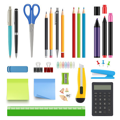 School stationery. Pencil sharp pen eraser calculator knife and stapler vector realistic collection