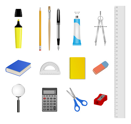 School stationery set. Collection of realistic school and office supplies