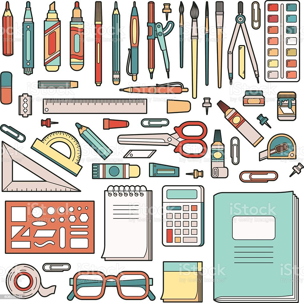 School stationery vector art illustration