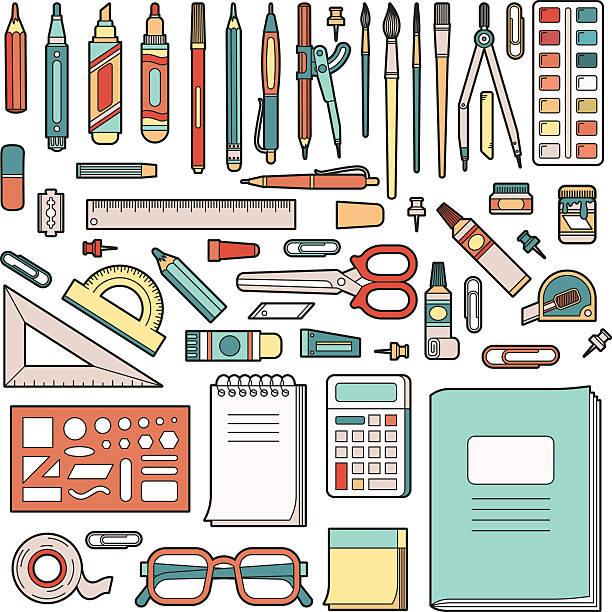 学校用文房具 - 学校の文房具点のイラスト素材/クリップアート素材/マンガ素材/アイコン素材