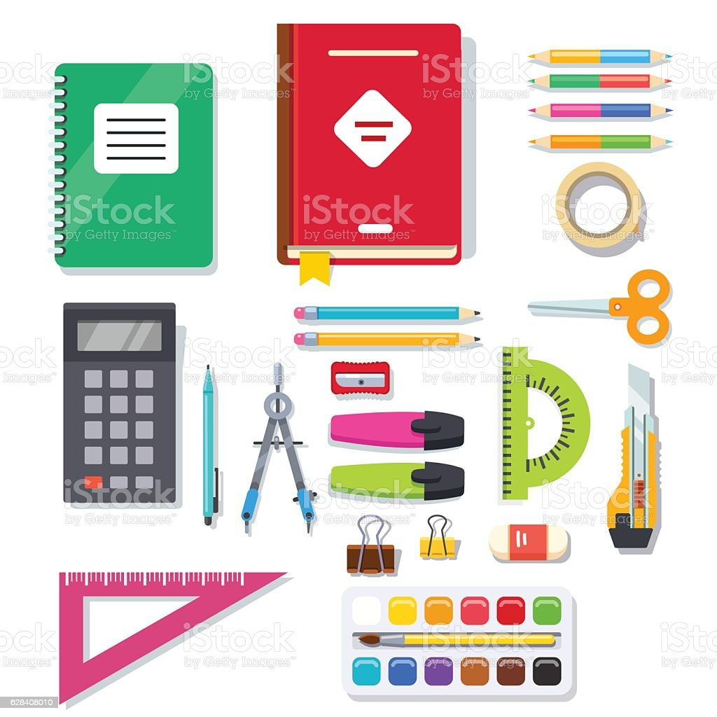 School student and office stationary supplies kit vector art illustration