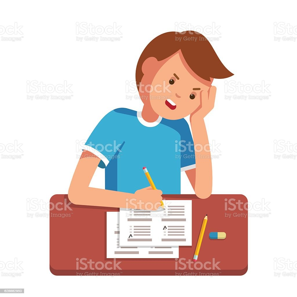 School student filling out answers to exam test vector art illustration