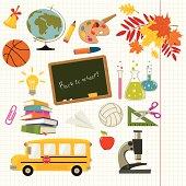 School supply icon set.