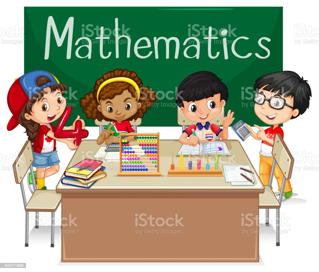 School Subject For Mathematics With Kids In Class Stock Vector Art ...