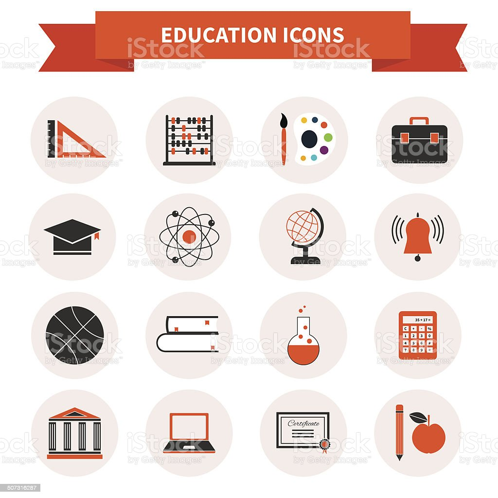 School Subject Icons vector art illustration