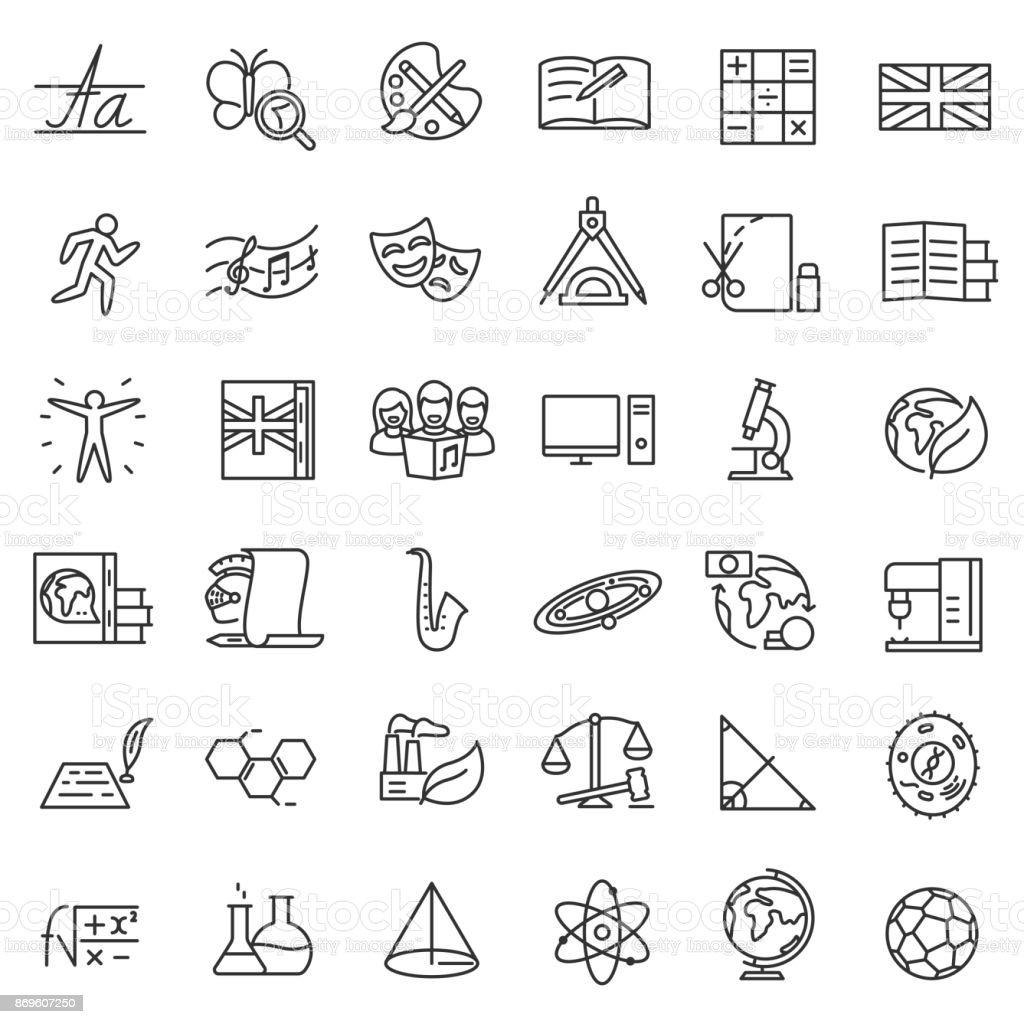 Asignaturas, conjunto de iconos. Movimiento editable - ilustración de arte vectorial