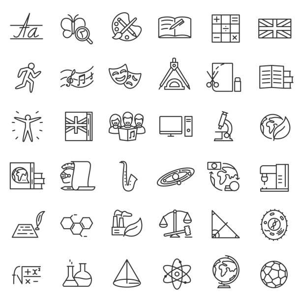 ilustrações, clipart, desenhos animados e ícones de disciplinas escolares, conjunto de ícones. curso editável - aula de ciências