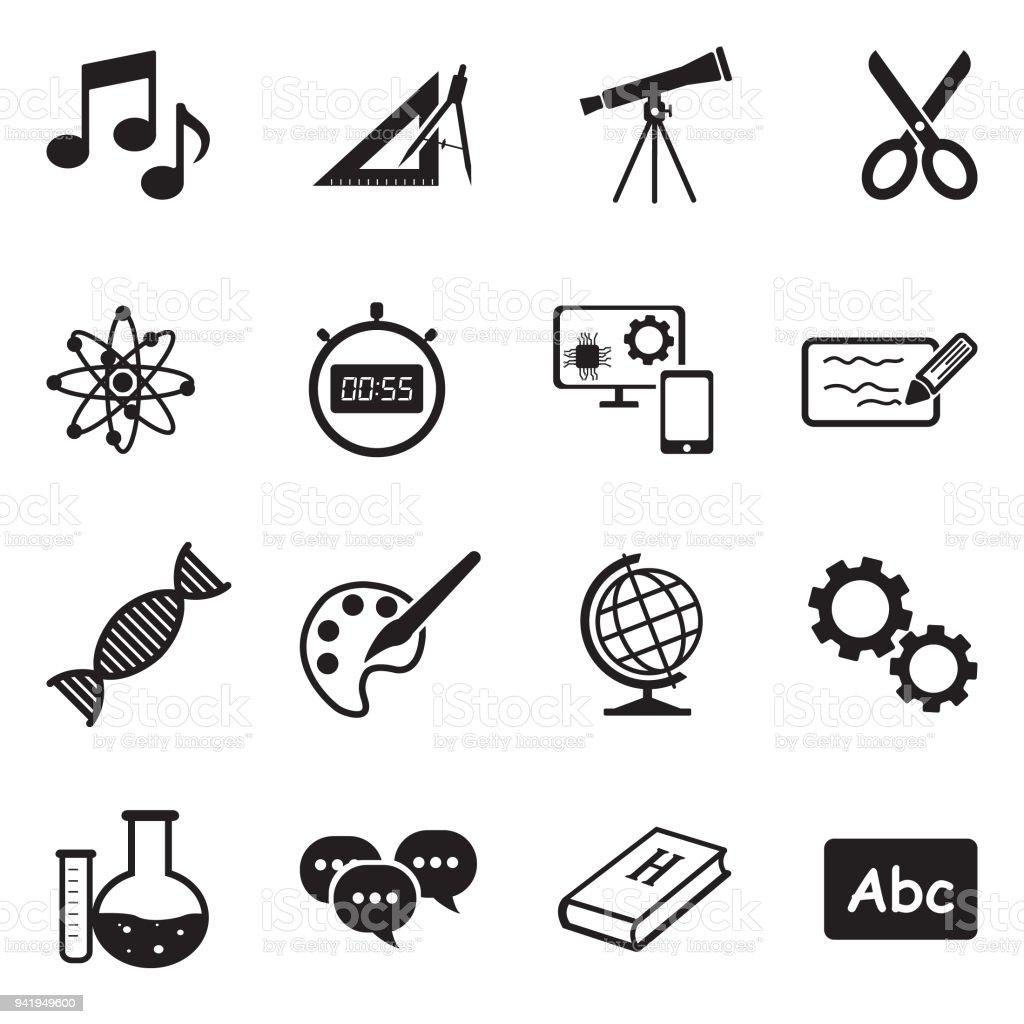 school subjects icons black flat design vector illustration stock