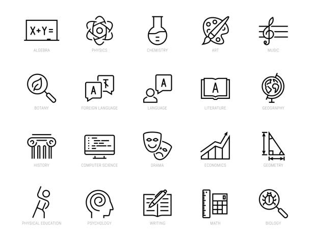 School subjects vector icon set in thin line style School subjects vector icon set in thin line style topics stock illustrations