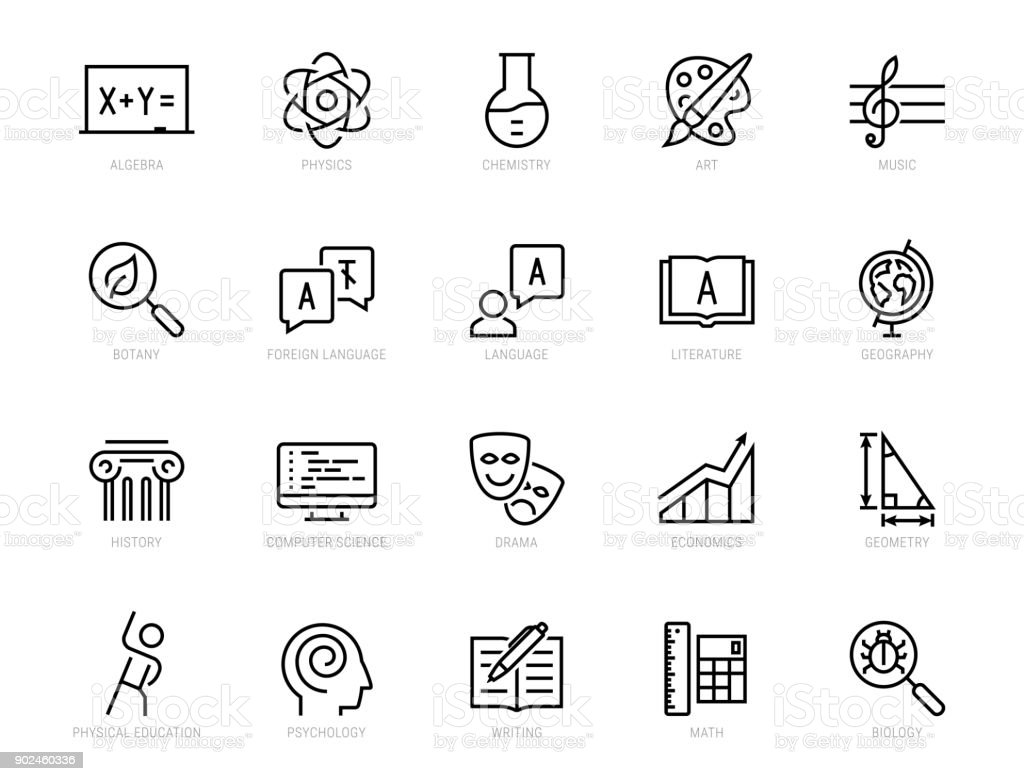 School subjects vector icon set in thin line style vector art illustration