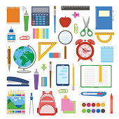 School supplies and items set isolated on white background. Back to school equipment. Education workspace accessories. Infographic elements.
